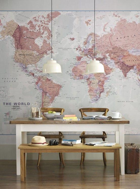 papel de parede mapa mundi decoreba design